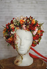 Ozdoby do vlasov - Veľký jesenný kvetinový boho venček - 12677027_