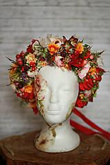 Ozdoby do vlasov - Veľký jesenný kvetinový boho venček - 12677028_