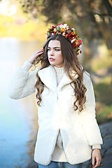Ozdoby do vlasov - Veľký jesenný kvetinový boho venček - 12677029_