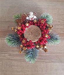 Svietidlá a sviečky - Vianočný svietnik zlato-červený hviezda - 12680816_