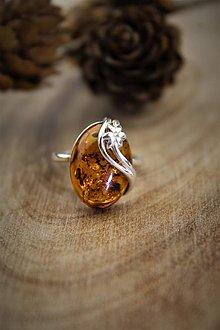 Prstene - jantár prsteň - v striebre - 12681470_