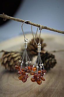 Náušnice - jantárové náušnice - afroháčiky striebrouxusný set - 12681738_