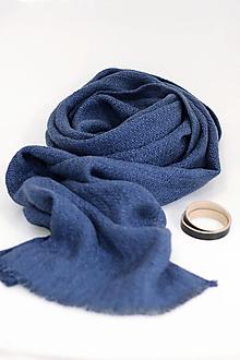 """Doplnky - Pánsky exkluzívny ľanový šál modročiernej farby """"Albert"""" - 12679562_"""