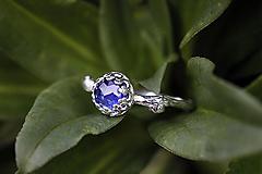 Prstene - Vetvičkový s brúseným zafírom - 12681830_