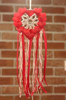 Dekorácie - Detský  ružový lapač snov Srdce - 12679780_