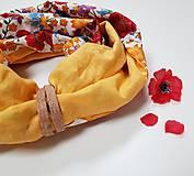 Šály - Dámsky ľanovo bavlnený dvojfarebný nákrčník - okrový ľan+dizajnová bavlna - 12680542_