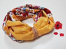 Šály - Dámsky ľanovo bavlnený dvojfarebný nákrčník - okrový ľan+dizajnová bavlna - 12680546_