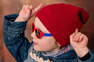 Detské čiapky - Pletená šmolkočiapka - 12681498_