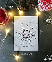 Papiernictvo - Pohľadnica A6 / Vianočná vločka - 12681258_