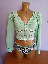 Topy, tričká, tielka - Háčkovaný romantický top - 12680848_