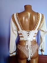 Topy, tričká, tielka - Háčkovaný romantický top Gold - 12680912_