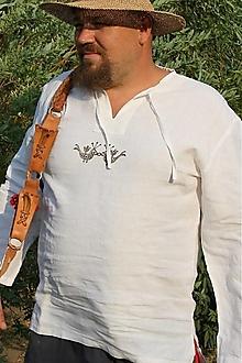 Oblečenie - Ľanová košeľa Svetislav biela s výšivkou - 12684370_