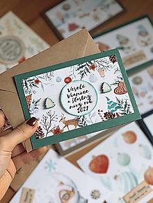 Papiernictvo - Vianočná pohľadnica Vianočný les - 12683308_