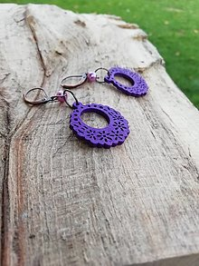 Náušnice - Náušničky ozdôbky fialové - 12683046_