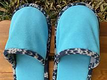 Obuv - Tyrkys papuče s modro-bielym lemom - 12684042_