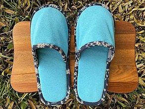 Obuv - Tyrkys papuče s modro-bielym lemom - 12684041_
