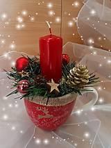 Svietidlá a sviečky - Červené Vianoce prírodné - 12683622_