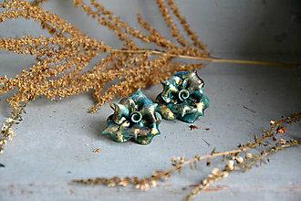 Náušnice - Ruže, Do zlata III., visiace náušnice, fimo - 12683609_