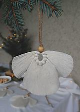 Dekorácie - Macramé vianočná ozdoba - anjel malý - 12686837_