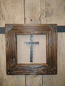 Obrazy - Obraz s rámom zo starého dreva - Kríž - 12684633_
