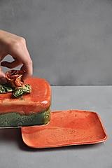 Nádoby - maselnička s ružou oranžovo jahodovo zelená - 12683484_