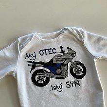 """Detské oblečenie - Maľované bodyčko s motorkou a nápisom: """"Aký OTEC, taký SYN"""" - 12683876_"""