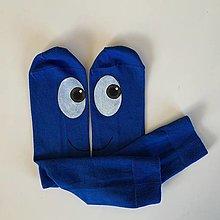 Obuv - Maľované ponožky s očami kráľovskymodré - 12684612_