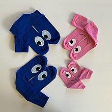 Obuv - Maľované ponožky s očami 2xmodré+ 2xdetské ružové - 12684638_