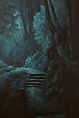 Obrazy - Zahmlený magický les - Originál Maľba - 12684492_