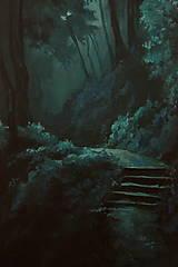 Obrazy - Zahmlený magický les - Originál Maľba - 12684513_