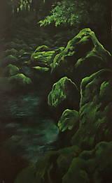 Obrazy - Smaragdový zamatový les s potôčikom - Originál Maľba - 12684615_