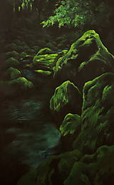 Obrazy - Smaragdový zamatový les s potôčikom - Originál Maľba - 12684626_