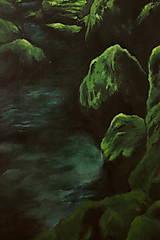 Obrazy - Smaragdový zamatový les s potôčikom - Originál Maľba - 12684641_