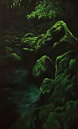 Obrazy - Smaragdový zamatový les s potôčikom - Originál Maľba - 12684644_