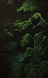 Obrazy - Smaragdový zamatový les s potôčikom - Originál Maľba - 12684645_