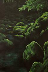 Obrazy - Smaragdový zamatový les s potôčikom - Originál Maľba - 12684661_