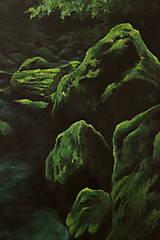 Obrazy - Smaragdový zamatový les s potôčikom - Originál Maľba - 12684667_