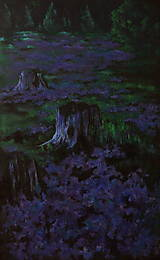 Obrazy - Levanduľová lúka uprostred lesa - Originál Maľba - 12684764_