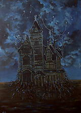 Obrazy - Viktoriánsky dom a obloha plná hviezd - Originál Maľba - 12684992_