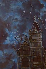 Obrazy - Viktoriánsky dom a obloha plná hviezd - Originál Maľba - 12685002_