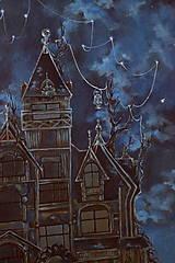 Obrazy - Viktoriánsky dom a obloha plná hviezd - Originál Maľba - 12685010_