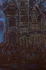 Obrazy - Viktoriánsky dom a obloha plná hviezd - Originál Maľba - 12685017_