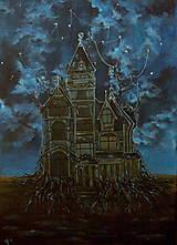 Obrazy - Viktoriánsky dom a obloha plná hviezd - Originál Maľba - 12685022_