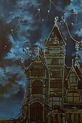 Obrazy - Viktoriánsky dom a obloha plná hviezd - Originál Maľba - 12685053_