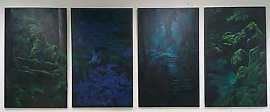 Obrazy - Smaragdový zamatový les s potôčikom - Originál Maľba - 12685200_