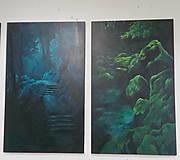 Obrazy - Smaragdový zamatový les s potôčikom - Originál Maľba - 12685201_