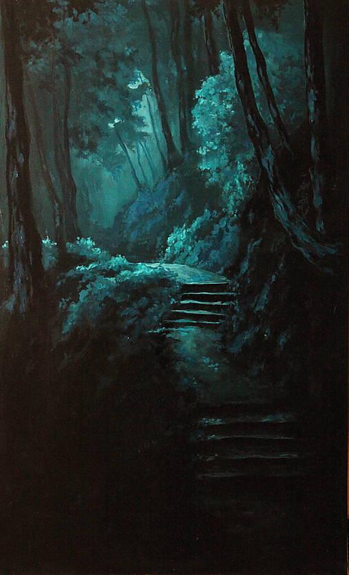 Zahmlený magický les - Originál Maľba