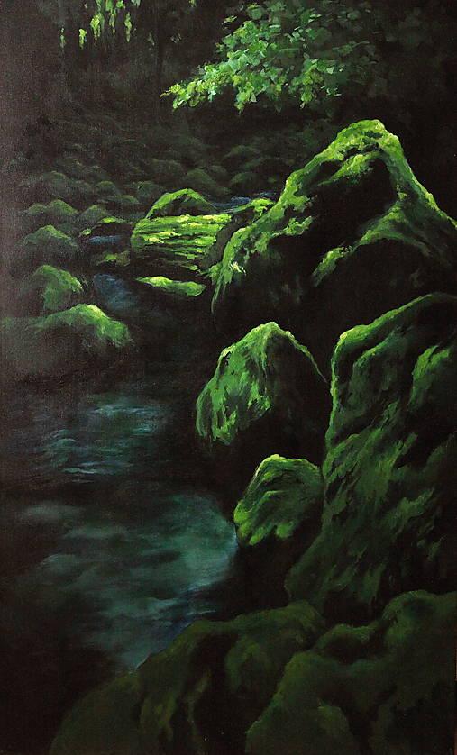 Smaragdový zamatový les s potôčikom - Originál Maľba