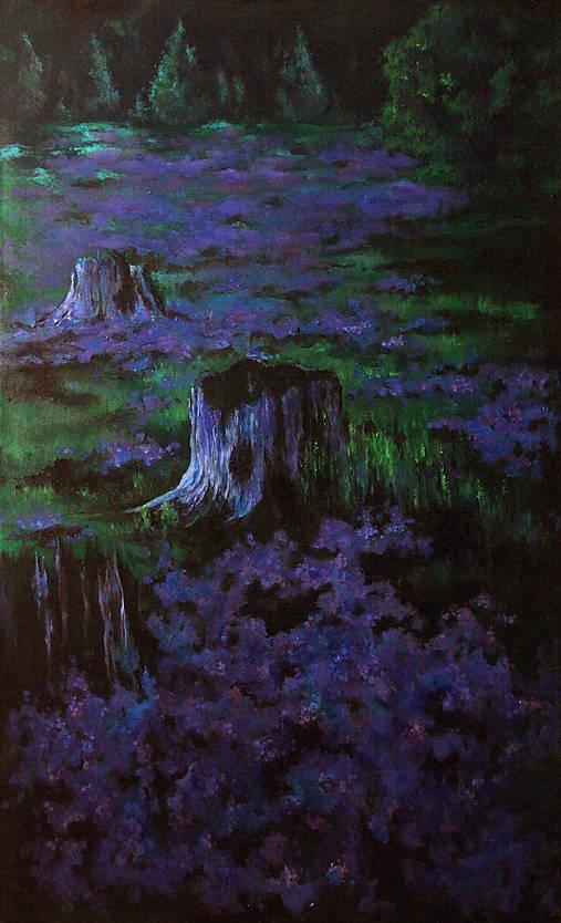 Levanduľová lúka uprostred lesa - Originál Maľba