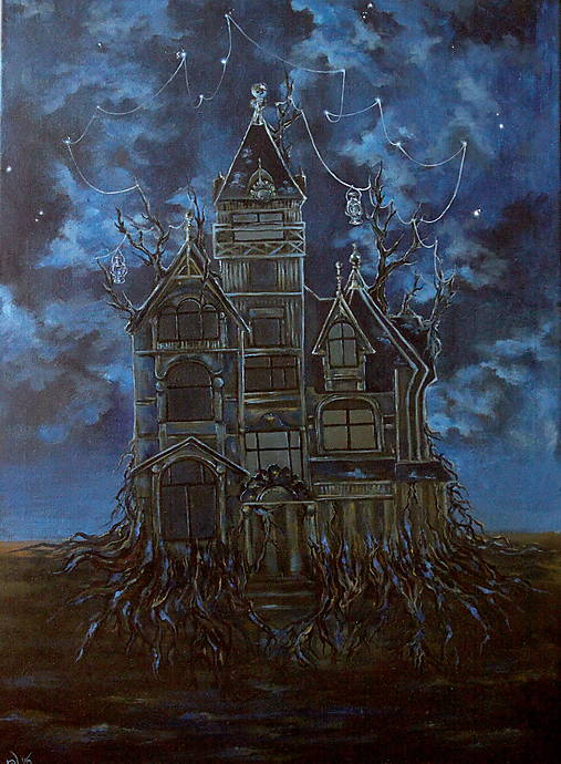 Viktoriánsky dom a obloha plná hviezd - Originál Maľba